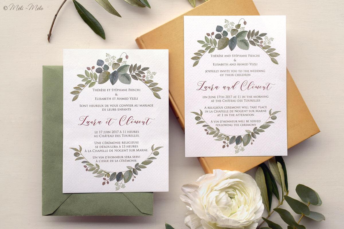 partecipazioni nozze in francese e in inglese