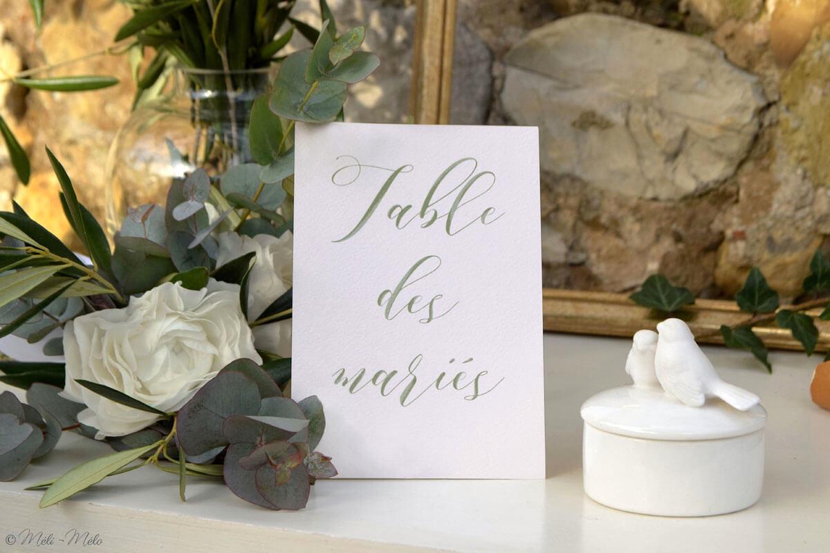 segnatavolo in francese con fiori e scatola bianca con coperchio con uccelli
