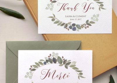 biglietto di ringraziamento in inglese e in francese con busta verde