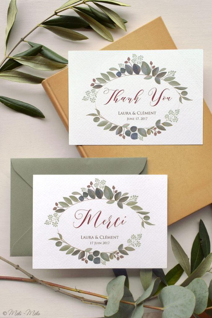 biglietti di ringraziamento per matrimonio in francese e in inglese