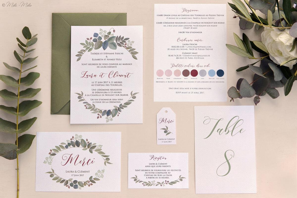 un coordinato per matrimonio con foglie di eucalipto