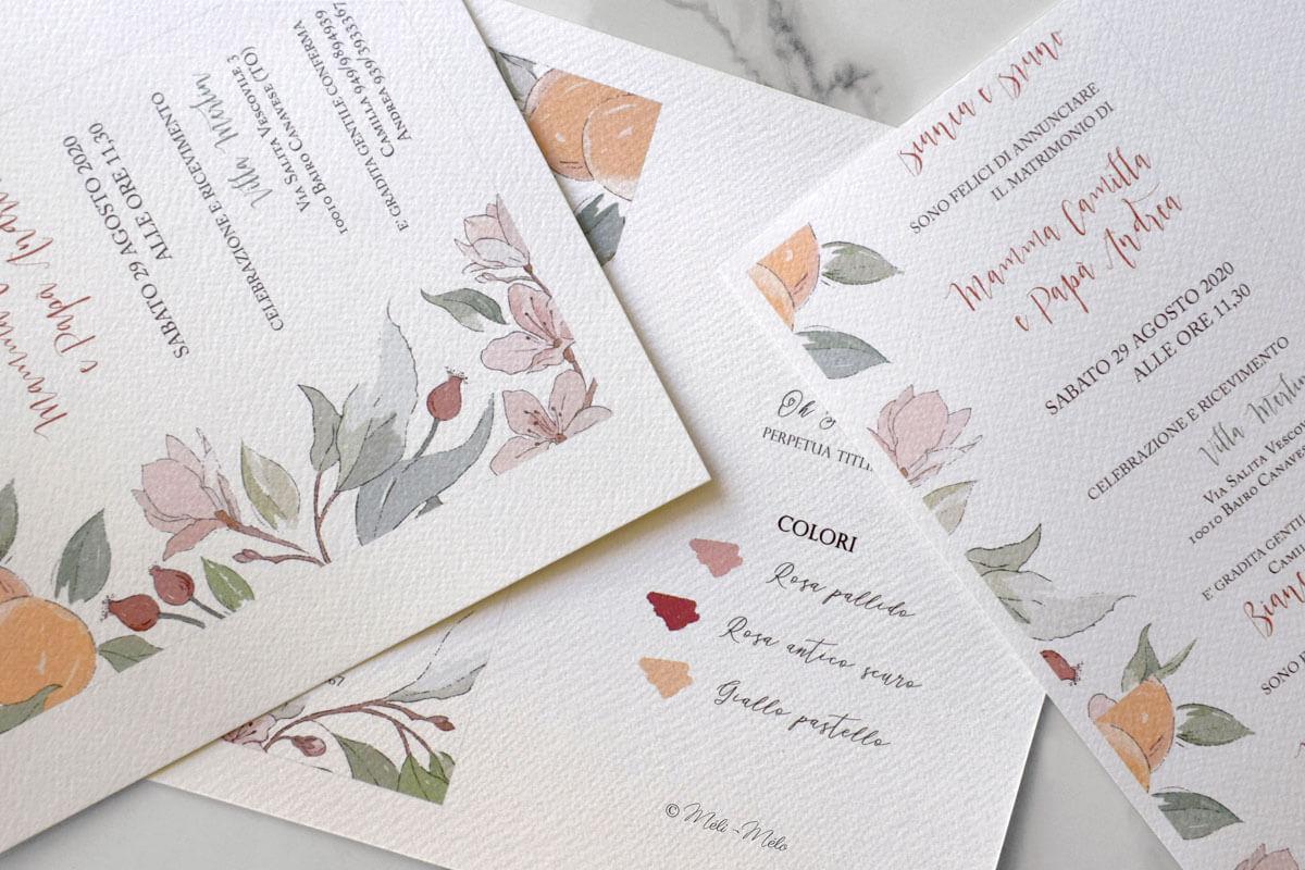 tre fogli con bozzetti botanici per partecipazione matrimonio