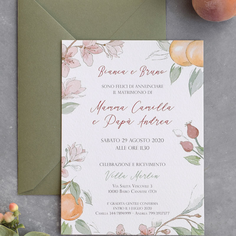 wedding invitation orchard style with peach and apricots on a grey background
