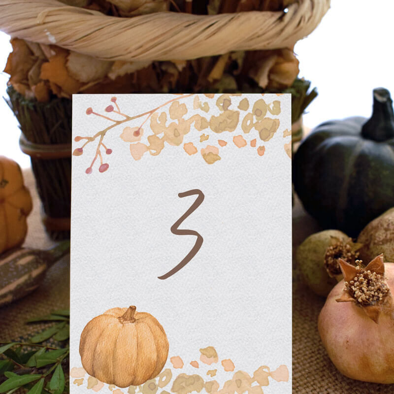 a thanksgiving table number themed in front of pumpkins and pomegranates
